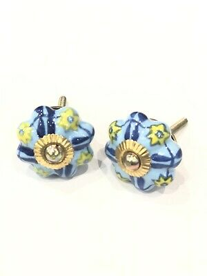 Blue Yellow Ceramic Knob Handle 6 Pcs, Blue Kitchen Cabinet Knobs