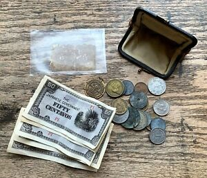 LOT-US-Fractional-POSTAGE-Currency-JAPANESE-GOVERNMENT-Foreign-COINS-Old-Purse