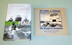 2-Books-Signed-REX-WEYLER-GREENPEACE-SAVE-A-WHALE-VOYAGES-ENVIRONMENTAL-Ecology