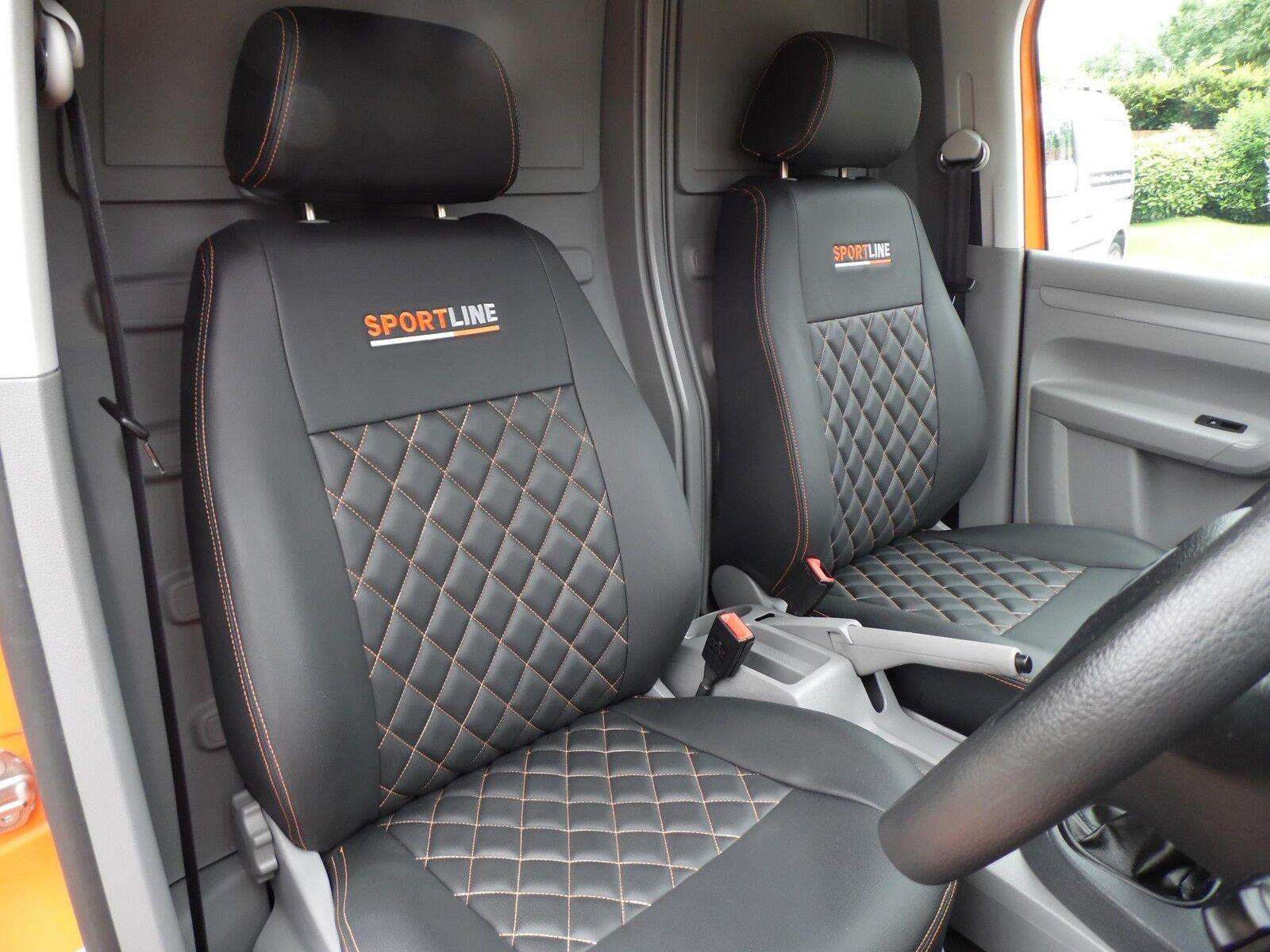 VW CADDY VAN Maßgefertigte Sitzbezüge - schwarz mit Diamanten & Logo ...