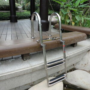 Details about Slinky 304 S S Inboard Rail Boat 4 Step Telescoping Ladder  Dock Ladder Awesome
