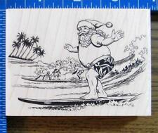 VLVS SURFING SANTA CLAUS rubber stamp CHRISTMAS ELVES TROPICAL BEACH OCEAN NEW!