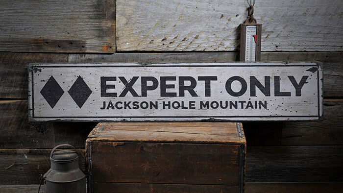 Expert Only Ski Sign, Wood Ski Decor -Distressed Wooden Sign ENS1001987