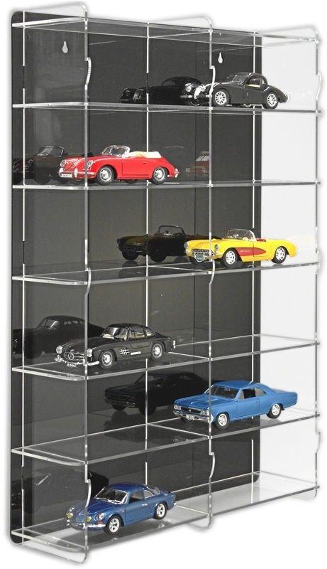 Sora voiture miniature vitrine 1 24 avec Noir Panneau Arrière Pour 12 Voitures de modèle