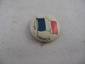 Interesting Antique Vintage COUNTRY FLAG Pin Pinback: FRANCE FLAG