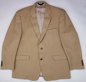 Camelhair-Sport-Coat-48L-Beige-Long-Mens-Jos-A-Bank-Size-Two-Button-Lined-Vented