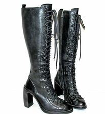 ANN DEMEULEMEESTER Black Leather Single Lace Talon Heel Combat Knee Boots 36 US6