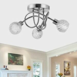 Modern 3 Way Led Crystal Ceiling Lights, Contemporary Living Room Ceiling Lights Uk