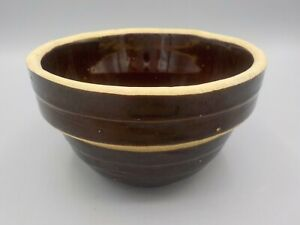 Small-Antique-VTG-Brown-Ribbed-Stoneware-Pottery-5-USA-Mixing-Bowl-Brown-Exc