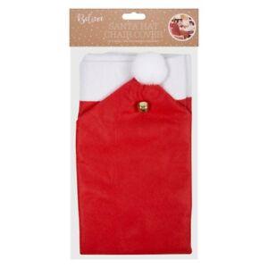 Conjunto-de-2-cubiertas-de-Navidad-Santa-Sombrero-Silla-Comedor-Roja-Trasera-Fiesta-Cena-Regalo