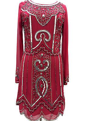 BNWT Berry Long sleeve embellished 1970's shift dress sizes 8 10 12 14 16 18 20