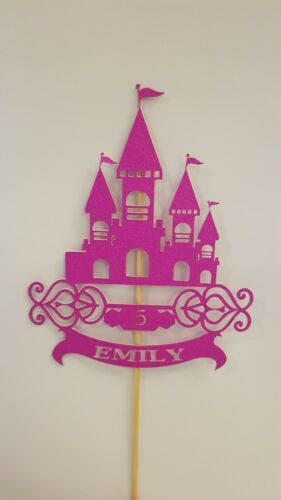 princess castle cake topper birthday girls glitter  PERSONALISED PINK GOLD