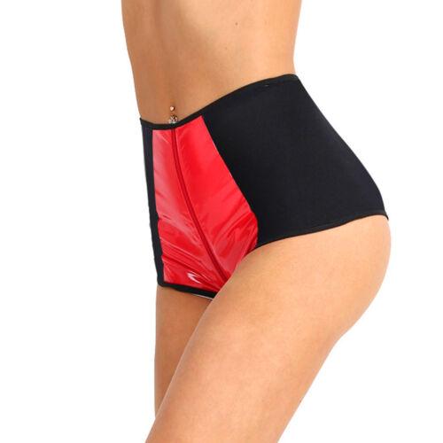 Womens Wetlook Thong Underwear Panties High Waist Zipper Dance Raves Club Shorts