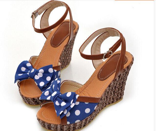 Sandalias zapatillas mujer en azul lazo pua cuña 10 cm elegante y cómodo 9226