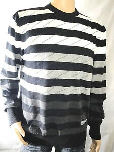 Billabong Striped Black Gray White 100 Cotton Pullover Sweater