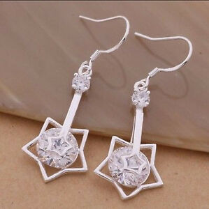 Chic-Jewelry-925Solid-Silver-Hoops-Earrings-Fashion-Women-Lady-Nice-Gift-NEW