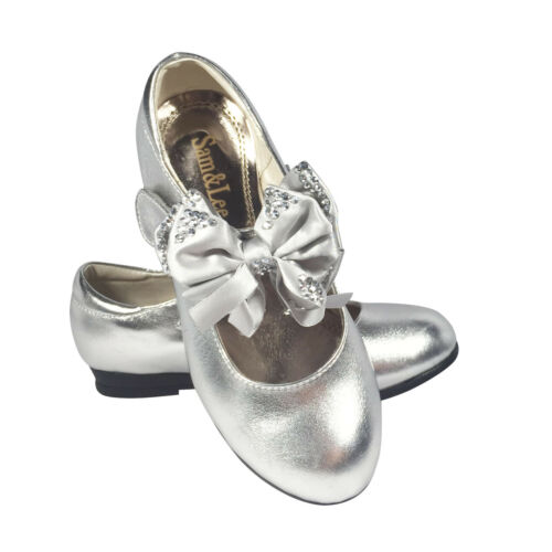 GIRLS SPANISH STYLE BOW SHOES MARY JANE WEDDING BRIDESMAID LOW HEEL SHOES Sz 8-3