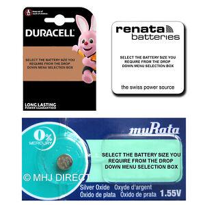 Genuine-DURACELL-MURATA-RENATA-SONY-Silver-Oxide-Watch-Batteries-1-2-4-x-Qty