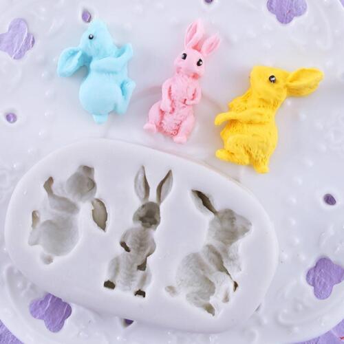 Rabbit  Shape Silicone Decor Baking Tool Fondant Cake Chocolate Mould FW