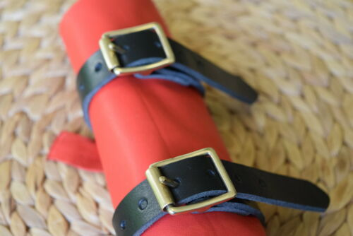 """UTILITY STRAP LEATHER Tie Down 25mm 1/"""" wide SOLID BRASS BUCKLE VARIOUS LENGTHS"""