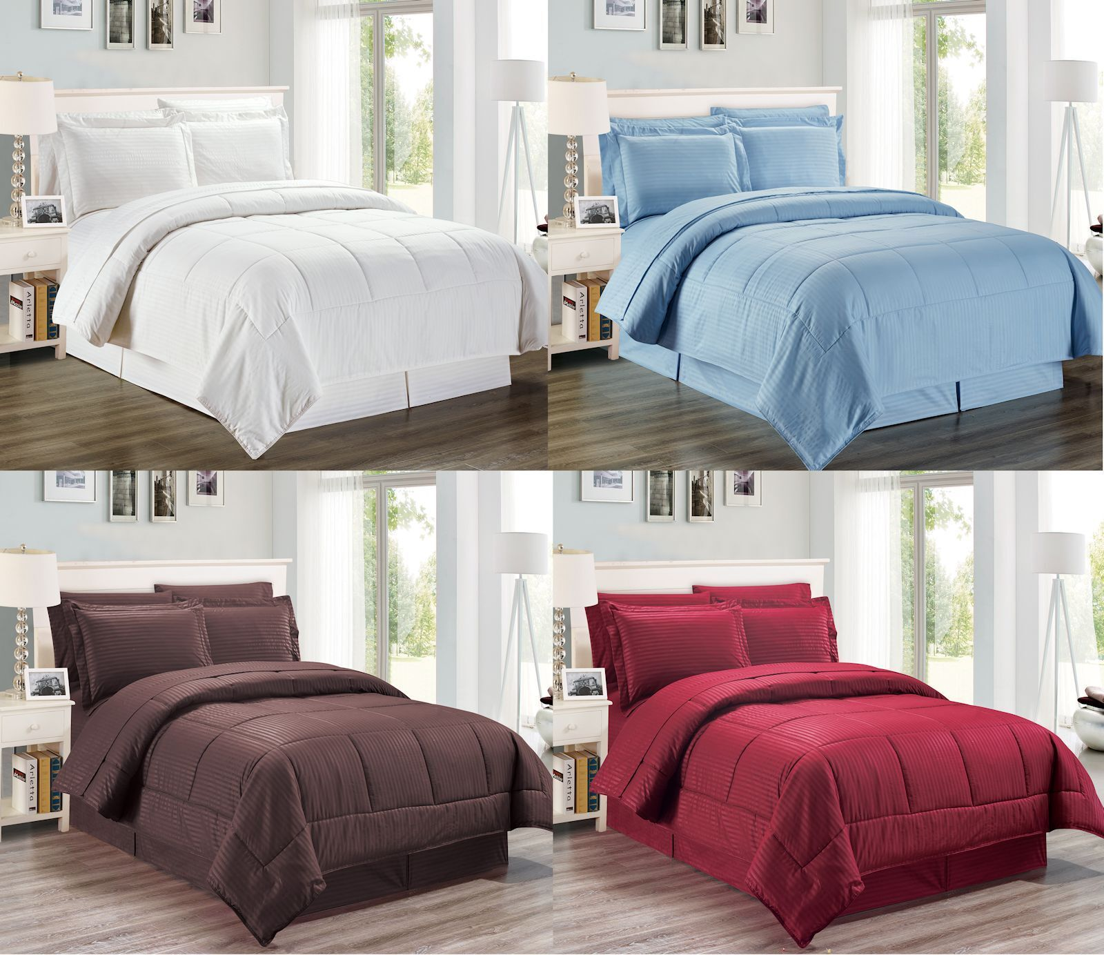8 Pcs Reversible Wrinkle Free Comforter Set and Sheet Set, Queen & King