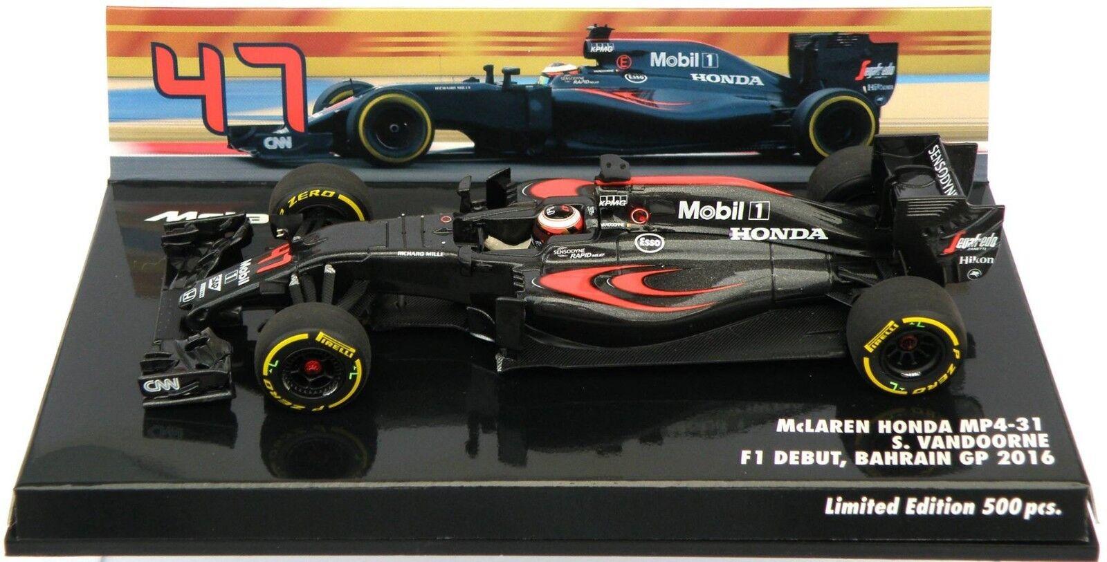 Minichamps 1 43 McLaren Honda mp4-31 S. Vandoorne f1 débuts Bahrein GP 2016