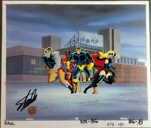 The-X-Men-Original-Animation-Production-Cel-Signed-Stan-Lee-COA-Deadpool