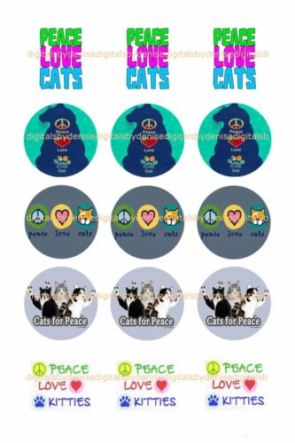 "CATS AND DOGS BOTTLE CAP IMAGES 15 1/"" CIRCLES $2.45 15 CHOICES *FREE SHIPPING*"