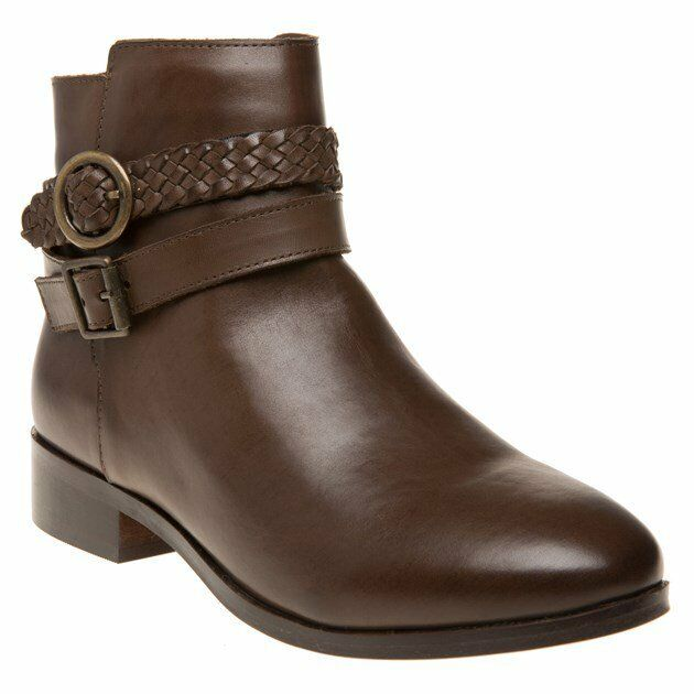 New femmes SOLE marron Brindle Leather bottes Ankle Buckle