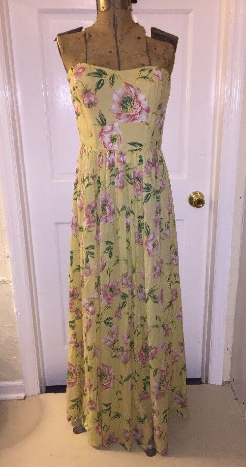 Woherren 6 French Connection Gelb Floral Maxi Strapless Dress NWT