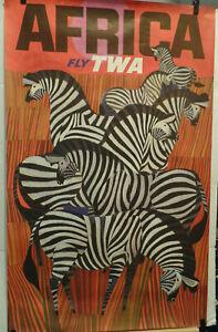 TWA POSTER TO AFRICA ORIGINAL DAVID KLEIN 1960'S