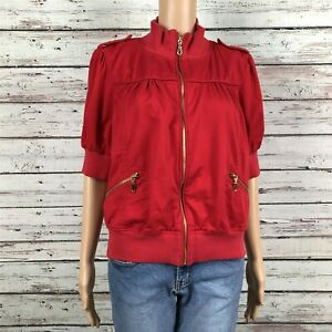 AMI Cropped Short Bomber Jacket LARGE Bright Red Gold Zip Up Puff Short Sleeves