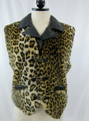 Trend Mark Women's Leopard Brown Tan Faux Fur Vest Eva Makray For Fashion Impact Size M