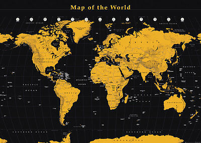 *NEW**GOLD GIANT MAP OF THE  WORLD WALL POSTER 140cm x 100cm FL0598
