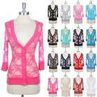 Lace Button Down V Neck 3/4 Sleeve Cardigan Ribbed Hem Cuff Neckline S M L