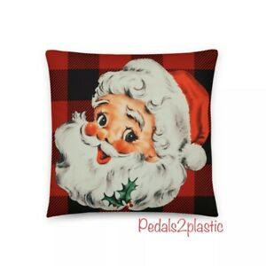 Vintage Die Cut Santa Face Pillow Red And Black Buffalo Plaid Ebay