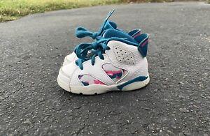 Toddler-s-Nike-Air-Jordan-Retro-6-White-Laser-Fuchsia-US-Size-6C