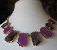 Kate Spade York Rare Statement Set In Stone Necklace Amethyst Purple Collar