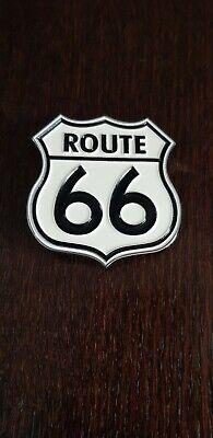 SUPERB ENAMELED HEAVY METAL ROUTE 66 BELT BUCKLE BIKER GOTH #AT069