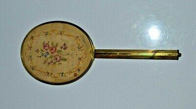 Antique Victorian Brass Hand Mirror Hand Sewn Petit Point