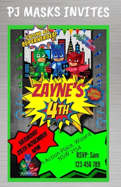 PJ MASKS Personalised Birthday Invitations Invites Theme Kids Name Party 1