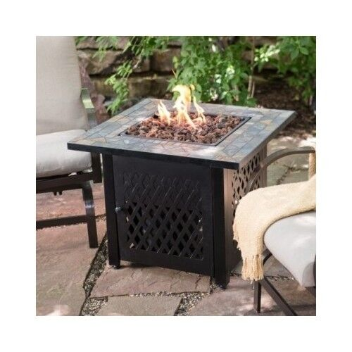 Fire Pit Table Propane LP Gas Patio Heater Outdoor Fireplace Backyard  Furniture | EBay