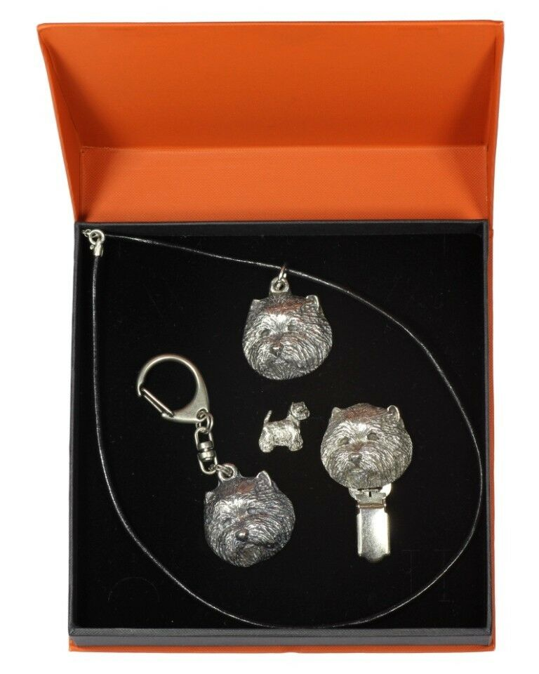 Westie - Silber coverot keyring, pendant, pin, clipring, set with dog, Art Dog