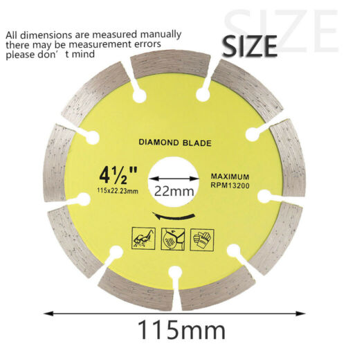 """4.5/""""Cold//Hot Pressed Turbo Diamond Saw Blade Dry Wet Cutting Marble Granite Tile"""