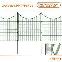 5pcs Green Zippity Fence Garden Picket Metal Lattice Metal Panel 25 X 27.5''