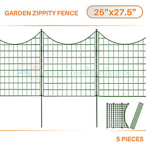 5pcs Green Zippity Garden Fence Picket Metal Lattice Metal