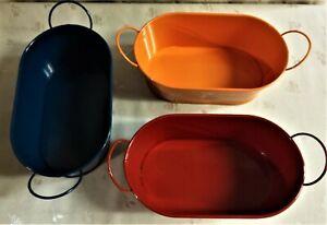 Nwt Spring Shop Oval Metal Bucket Navy Or Orange Or Dark Red 7 75 W Ebay