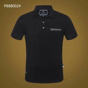 PHILIPP-PLEIN-Black-Letters-Men-Casual-Anti-Collar-T-shirt-P888002-Size-M-3XL