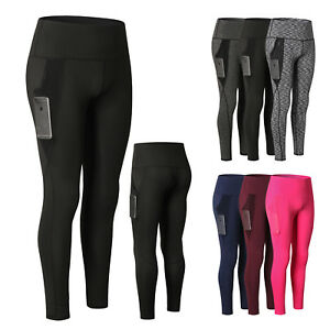 4b6595344f38a Women's Sports Fitness Long Pants High Waist Gym Yoga Workout Tights ...