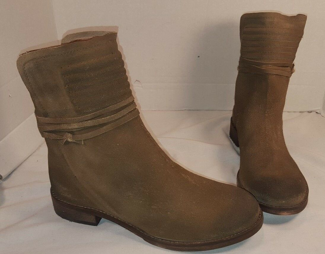 ANTHROPOLOGIE FREE PEOPLE TAUPE SUEDE CAMBRIDGE WRAP ANKLE BOOTS US 8